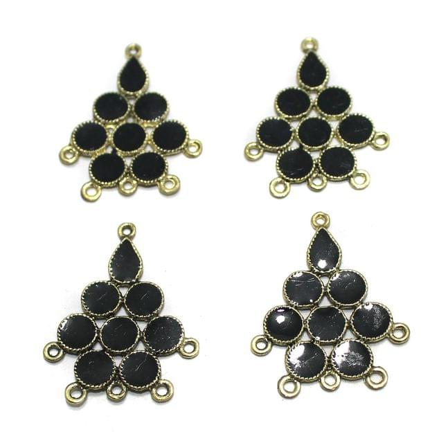 5 Pairs Black Earring Components 37mm