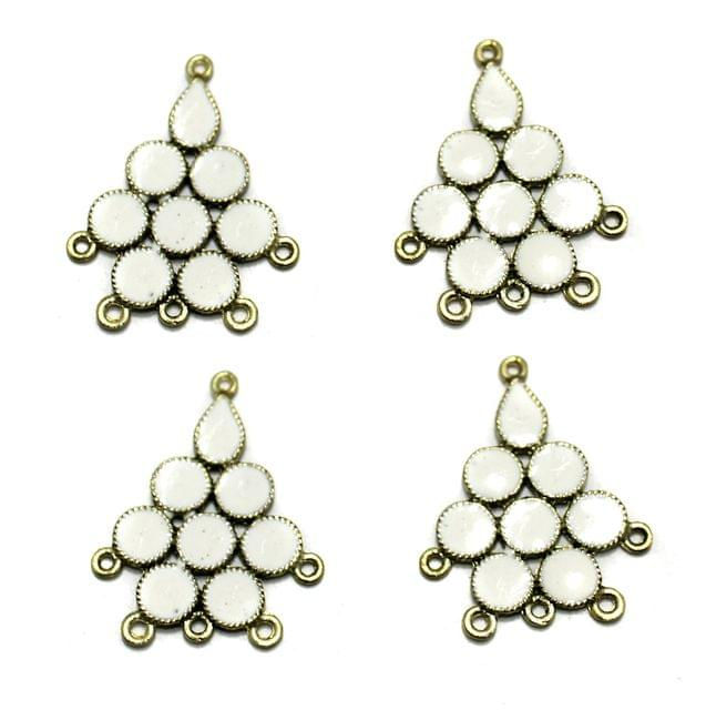 5 Pairs White Earring Components 37mm