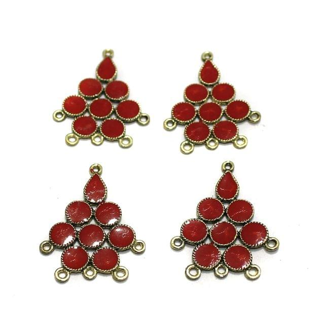 5 Pairs Red Earring Components 37mm