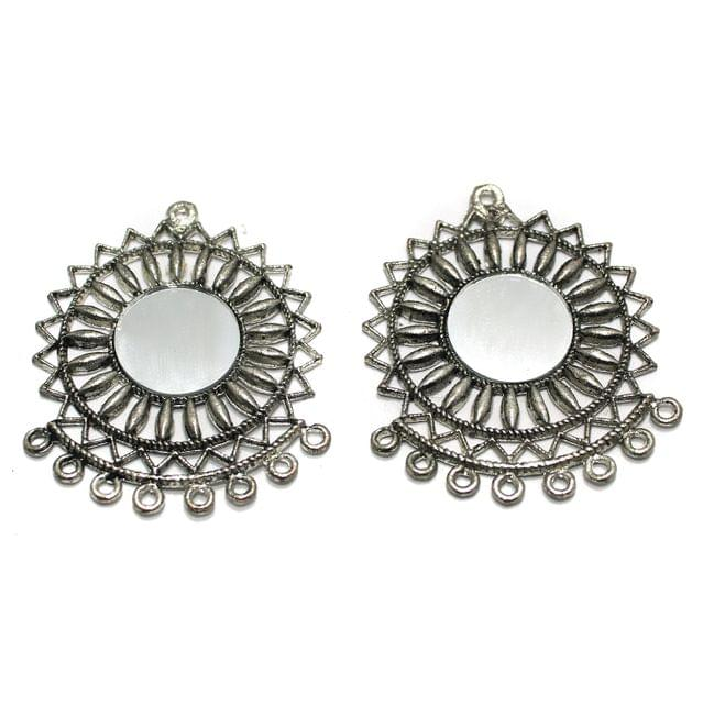 5 Pairs Silver Mirror Earring Components 50mm