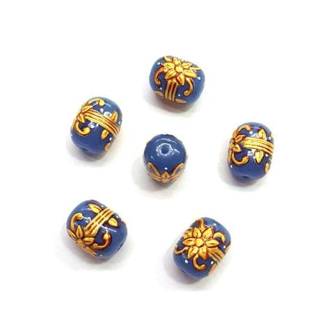 4Pcs, Handpainted Dark Blue Beads, 15x12mm