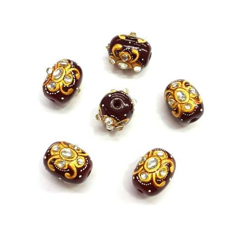 4Pcs, Handpainted Kundan Maroon Beads, 15x12mm