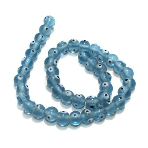 5 strings of Evil Eye Glass Round Beads Light Blue 8mm