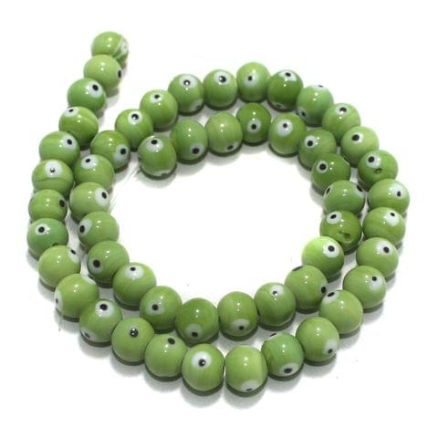5 strings of Evil Eye Glass Round Beads Peridot 8mm