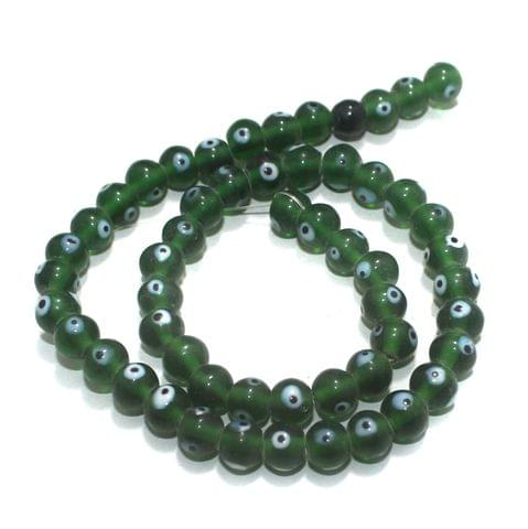 5 strings of Evil Eye Glass Round Beads Dark Green 8mm
