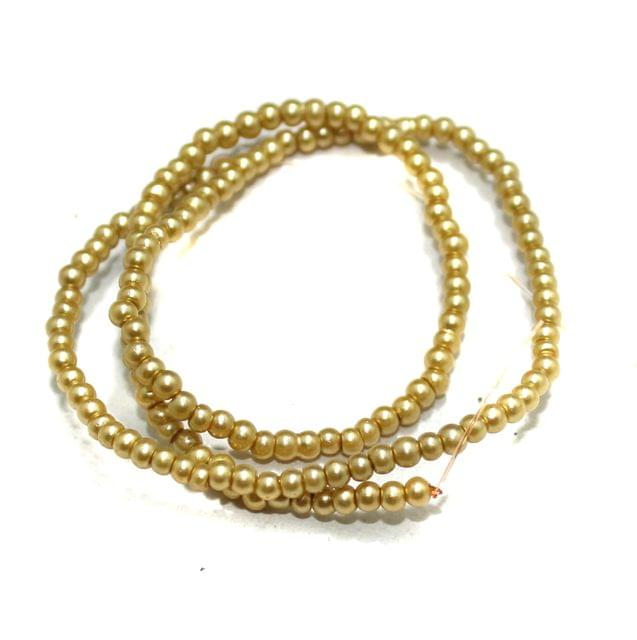 2.5mm Golden Glass Pearl Beads 1 String