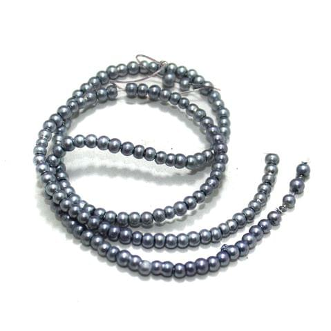 2.5mm Grey Glass Pearl Beads 1 String