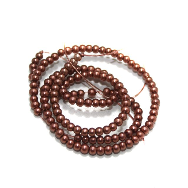 2.5mm Copper Glass Pearl Beads 1 String