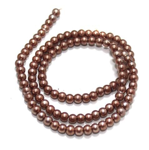 4mm Copper Glass Pearl Beads 1 String