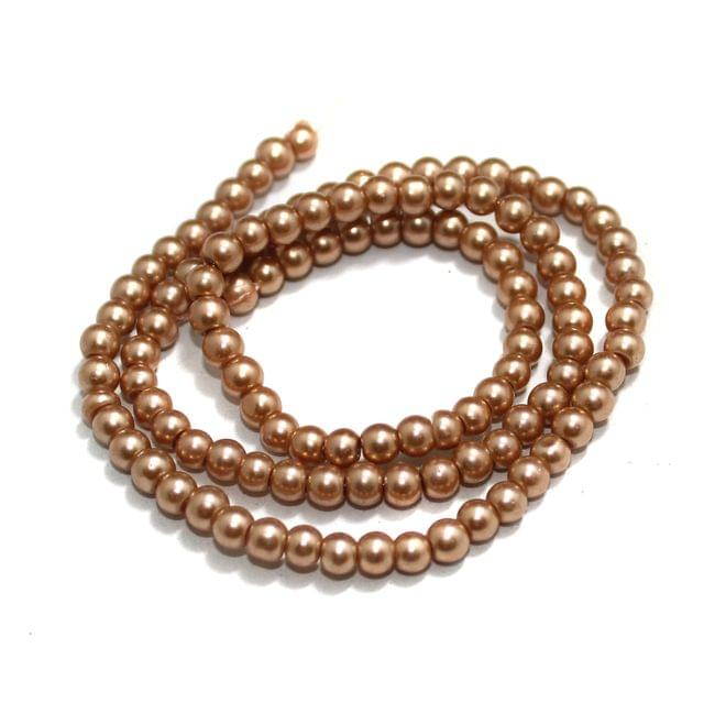 4mm Coffee Glass Pearl Beads 1 String