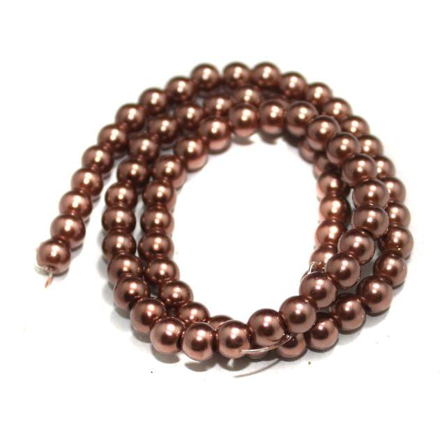 6mm Copper Glass Pearl Beads 1 String