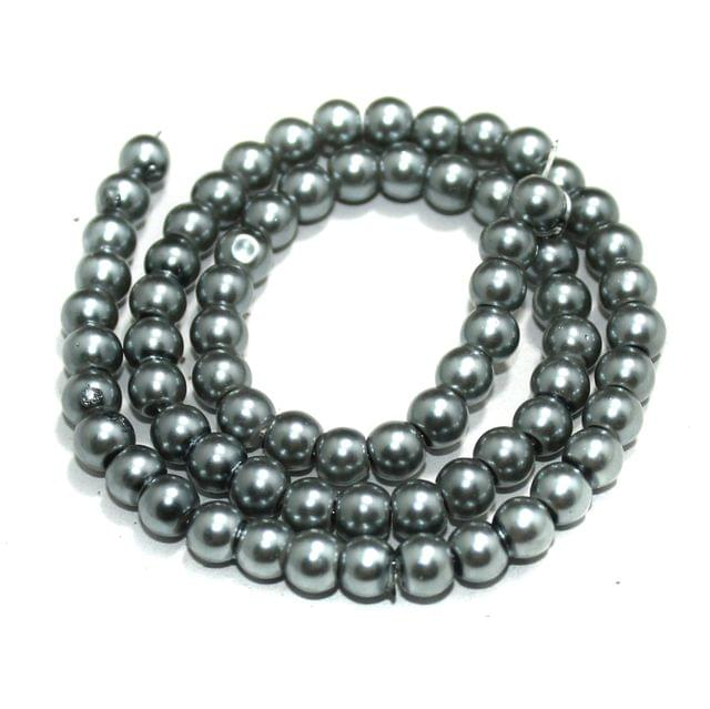 6mm Grey Glass Pearl Beads 1 String