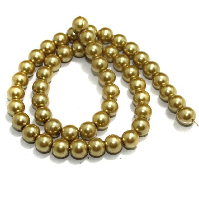 8mm Golden Glass Pearl Beads 1 String