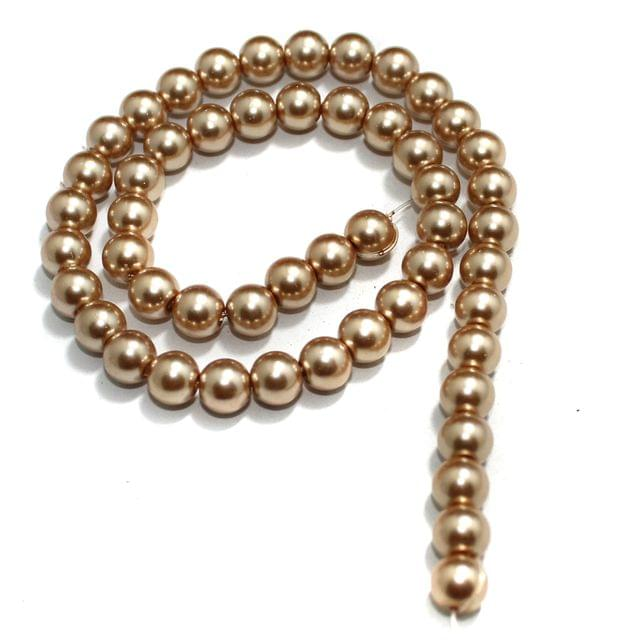 8mm Coffee Glass Pearl Beads 1 String