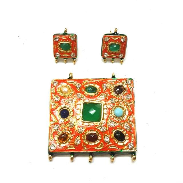 Navratana Pendant Set, Pendant - 2 inch, Earrings - 0.75 inch