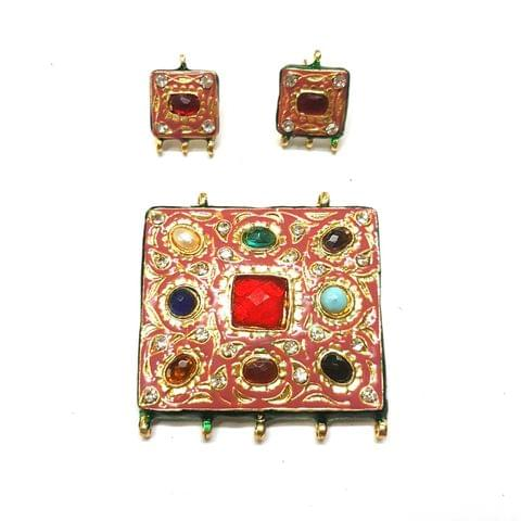 Navratana Pendant Set, Pendant - 2 inch, Earrings - 0.75 inch