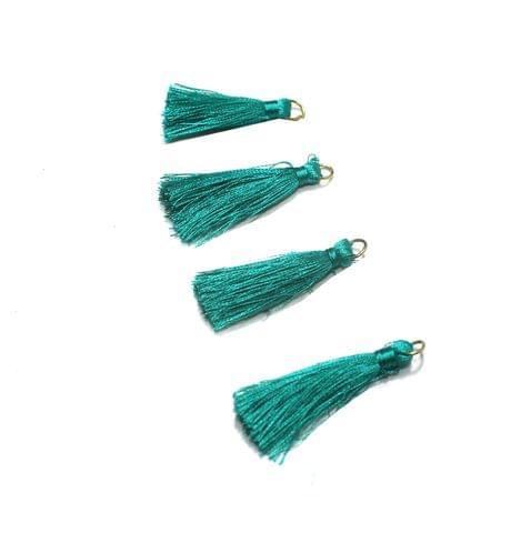 50 Pcs Teal Silk Tassles 1 Inch