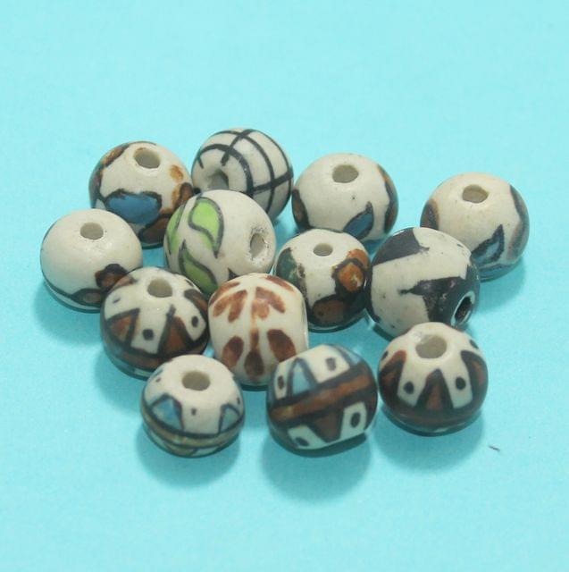 33 Pcs Ceramic Beads Matte Finish Assorted 13x14 mm