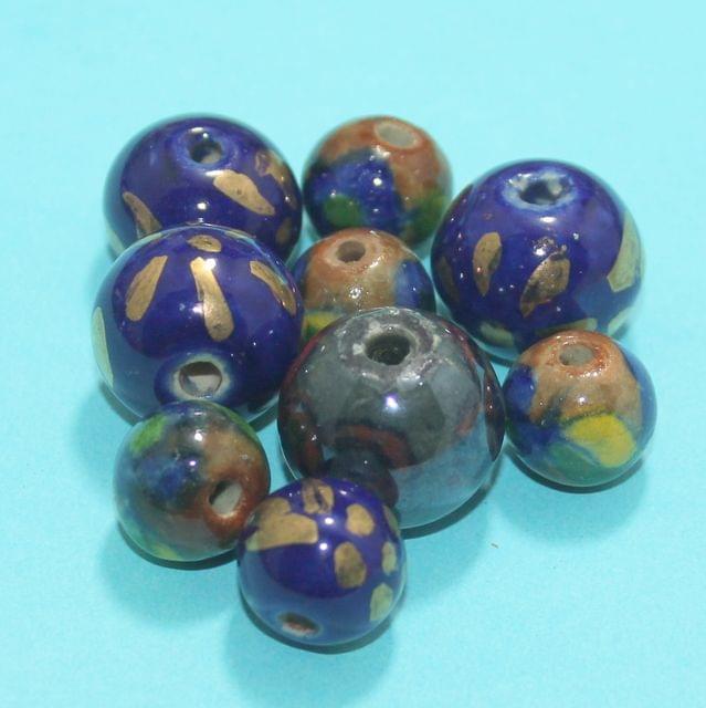 53 Pcs Ceramic Beads Assorted 19-12 mm