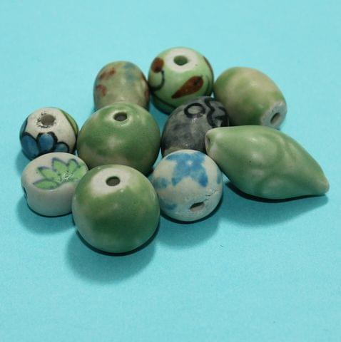 70 Pcs Ceramic Beads Matte Finish Assorted 31-18 mm