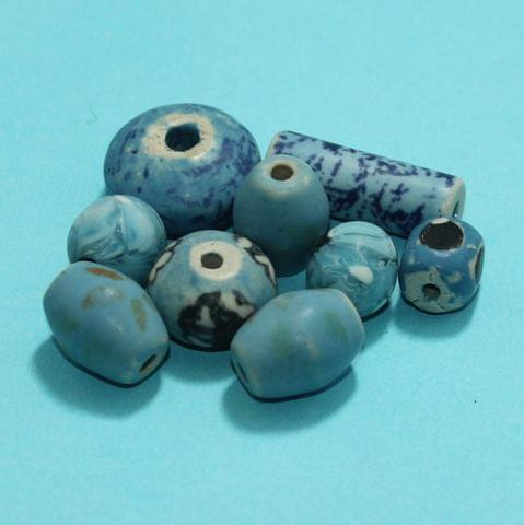 50 Pcs Ceramic Beads Matte Finish Assorted 32-13 mm