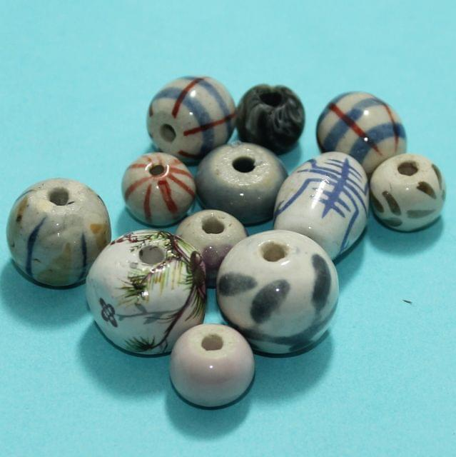 77 Pcs Ceramic Beads Assorted 21-10 mm