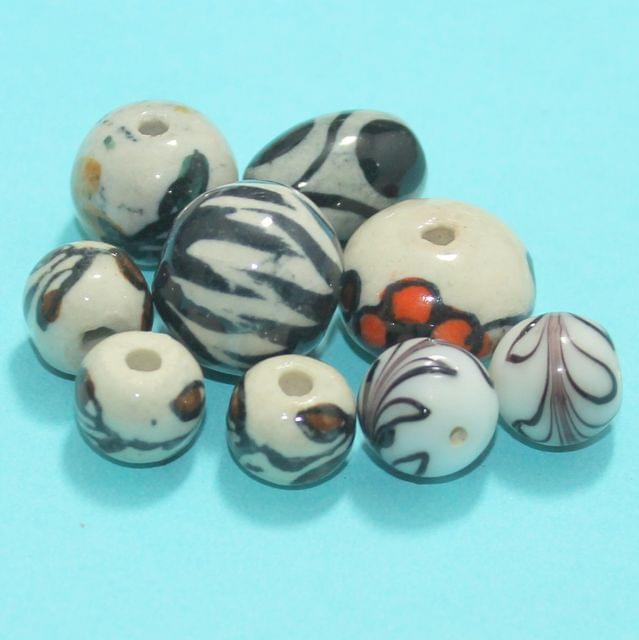 58 Pcs Ceramic Beads Assorted 23-11 mm