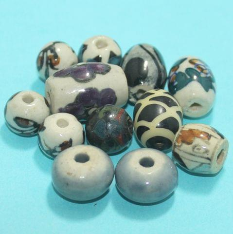 85 Pcs Ceramic Beads Assorted 21-11 mm