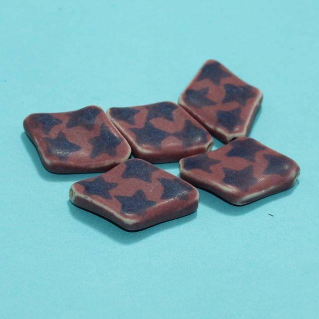 10 Pcs Ceramic Beads Matte Finish Assorted 37x6 mm