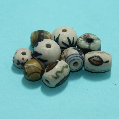 50 Pcs Ceramic Beads Matte Finish Assorted 30-10 mm