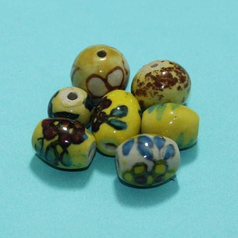 33 Pcs Ceramic Beads Assorted 8-20 mm