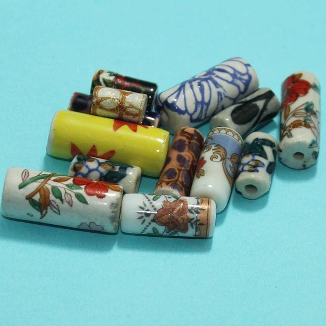 75 Pcs Ceramic Beads Assorted 29-11 mm