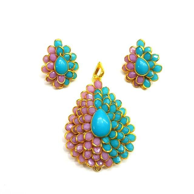 Purple Pink Pacchi Pendant, Pendant - 2 inches, Earrings - 1 inch