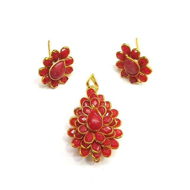 Red Pacchi Pendant, Pendant - 1.75 inches, Earrings - 0.75 inch