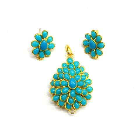 Blue Pacchi Pendant, Pendant - 1.75 inches, Earrings - 0.75 inch