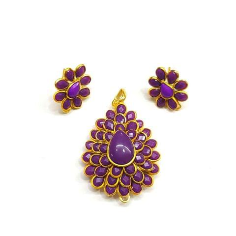Purple Pacchi Pendant, Pendant - 1.5 inches, Earrings - 0.75 inch