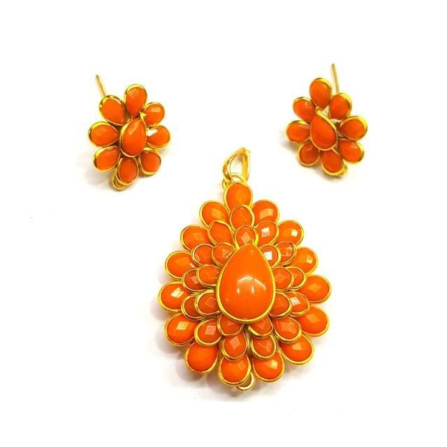 Orange Pacchi Pendant, Pendant - 1.75 inches, Earrings - 0.5 inch