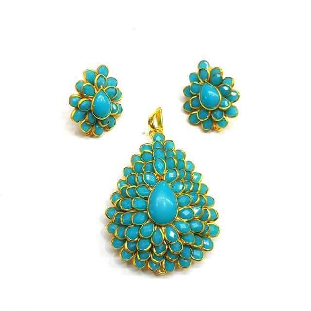 Blue Pacchi Pendant, Pendant - 2 inches, Earrings - 1 inch