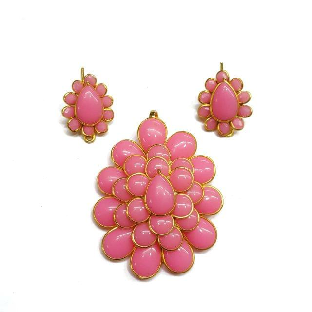 Pink Pacchi Pendant, Pendant - 2 inches, Earrings - 1 inch