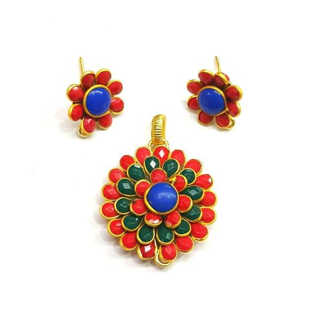 Multi Pacchi Pendant, Pendant - 1.25 inches, Earrings - 0.75 inch