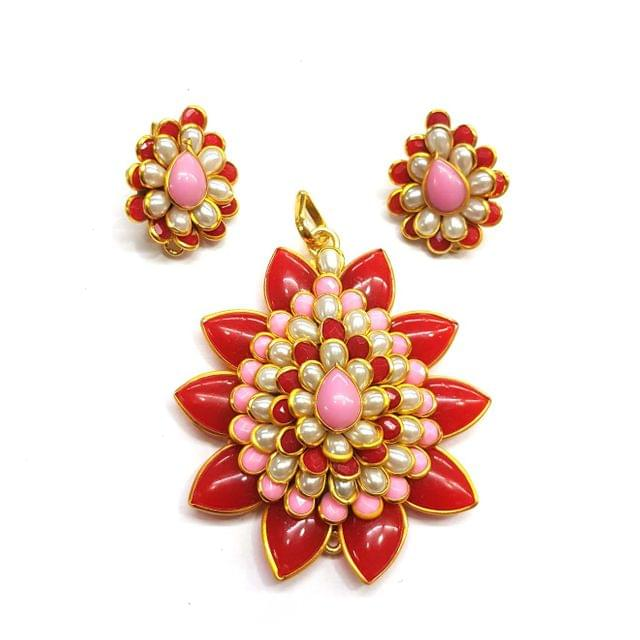 Pink Red Pacchi Pendant, Pendant - 2.5 inches, Earrings - 1 inch