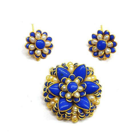 Blue Pacchi Pendant, Pendant - 1.75 inches, Earrings - 1 inch