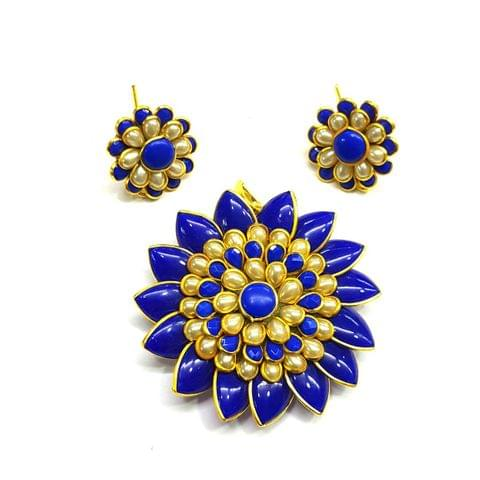 Blue White Pacchi Pendant, Pendant - 2 inches, Earrings - 0.75 inch