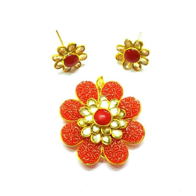 Red White Carving Pacchi Pendant, Pendant - 1.5 inches, Earrings - 0.75 inch