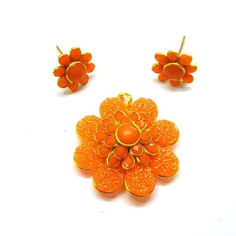 Orange Carving Pacchi Pendant, Pendant - 1.5 inches, Earrings - 0.75 inch