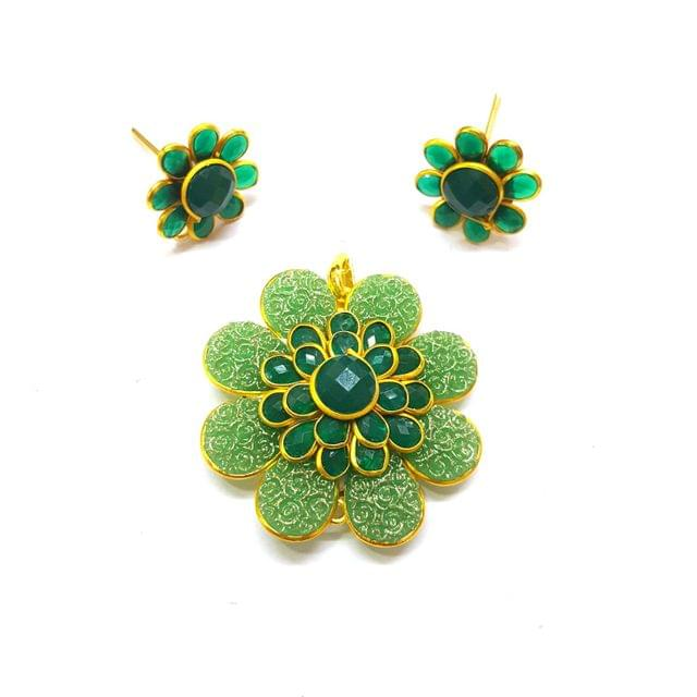 Dark Green Carving Pacchi Pendant, Pendant - 1.5 inches, Earrings - 0.75 inch