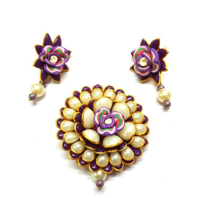 Purple Pacchi Pendant, Pendant - 2.5 inches, Earrings - 1.5 inch