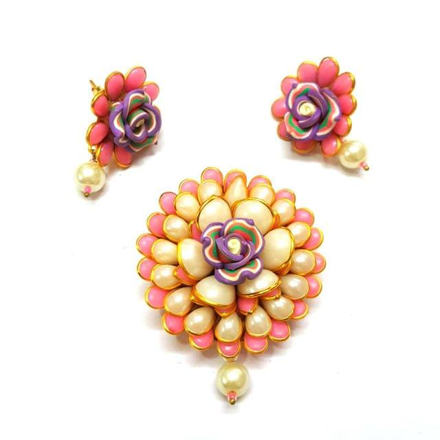 Pink Pacchi Pendant, Pendant - 2.5 inches, Earrings - 1.5 inch
