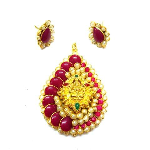 Pink Temple Pendant, Pendant - 2.75 inches, Earrings - 1 inch