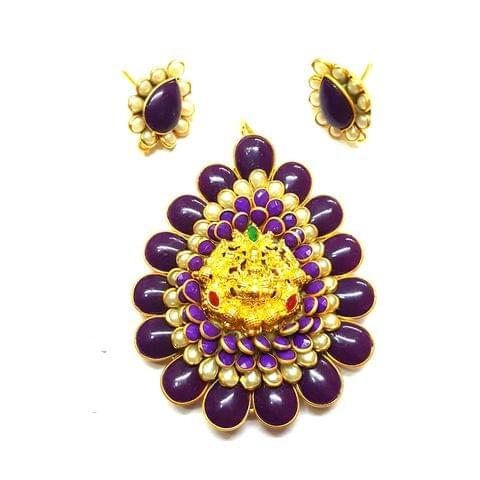 Purple Temple Pendant, Pendant - 2.75 inches, Earrings - 1 inch